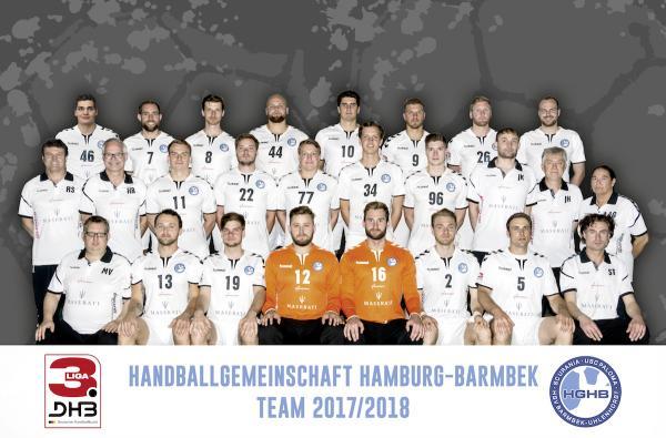 HG Hamburg-Barmbek, HGHB, Mannschaftsfoto 2017/18 3. Liga Nord