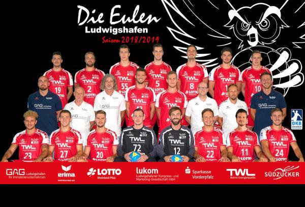 Eulen Ludwigshafen, Mannschaftsfoto DKB Handball-Bundesliga, Saison 2018/19