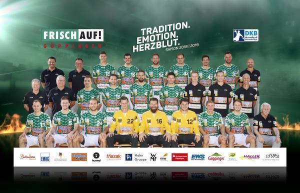 Frisch Auf Göppingen, FAG, Mannschaftsfoto DKB Handball-Bundesliga, Saison 2018/19