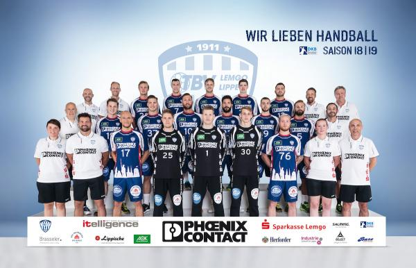 TBV Lemgo Lippe, Mannschaftsfoto DKB Handball-Bundesliga, Saison 2018/19