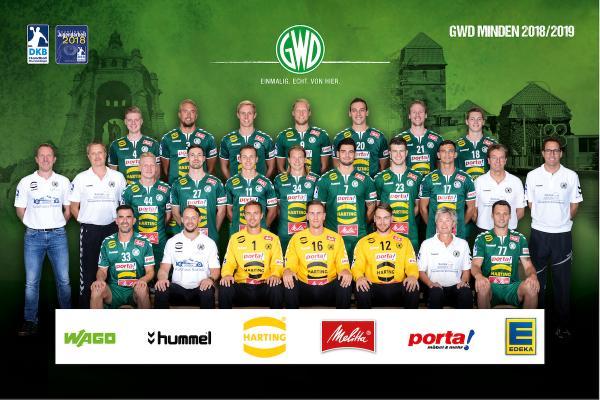 GWD Minden, Mannschaftsfoto DKB Handball-Bundesliga, Saison 2018/19