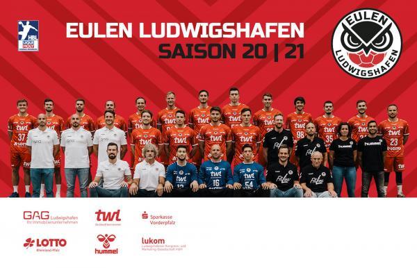 Eulen Ludwigshafen, Mannschaftsfoto 1. Handball-Bundesliga Saison 2020/21, LIQUI MOLY Handball-Bundesliga, HBL1
