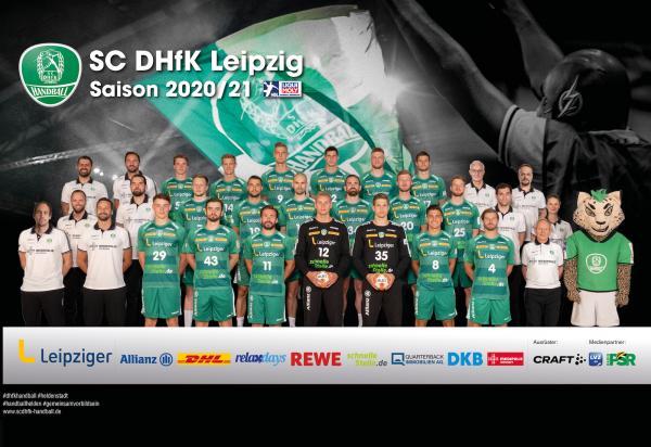 SC DHfK Leipzig, Mannschaftsfoto 1. Handball-Bundesliga Saison 2020/21, LIQUI MOLY Handball-Bundesliga, HBL1