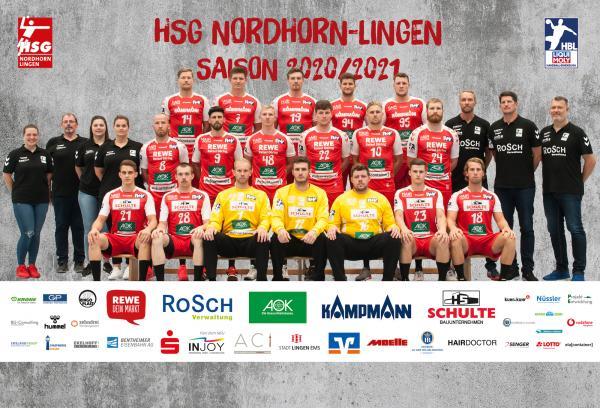 HSG Nordhorn-Lingen, Mannschaftsfoto 1. Handball-Bundesliga Saison 2020/21, LIQUI MOLY Handball-Bundesliga, HBL1