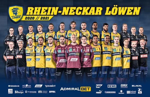 Rhein-Neckar Löwen, Mannschaftsfoto 1. Handball-Bundesliga Saison 2020/21, LIQUI MOLY Handball-Bundesliga, HBL1